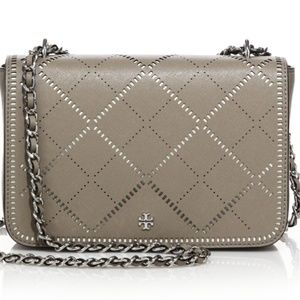 Tory Burch Gray Robinson Crosshatch Bag